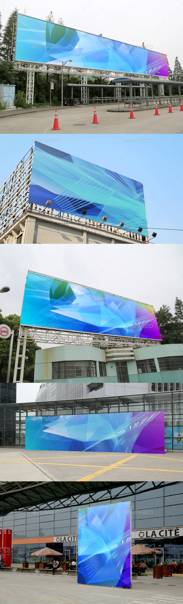 GraphicRiver 5 Poster Mockups Outdoor 10584661