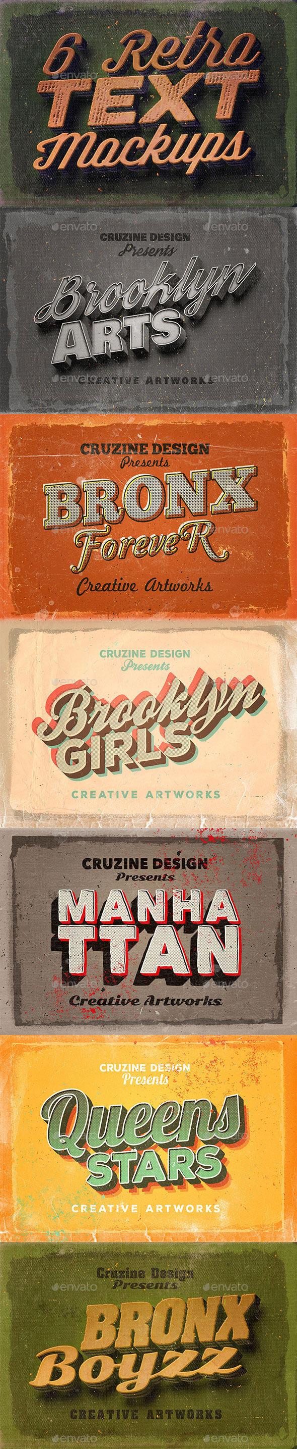 GraphicRiver 6 Retro Vintage Text Mock-ups 10584668