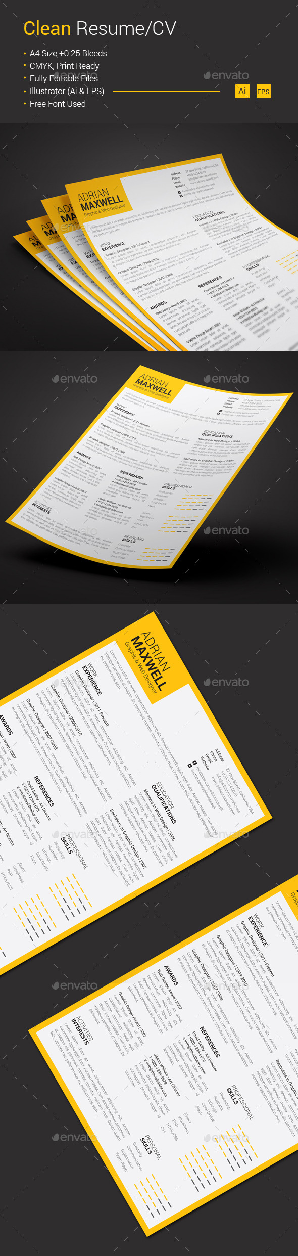 GraphicRiver Clean Resume CV 10584716