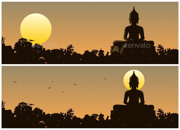 GraphicRiver Buddha Sunset 10585298