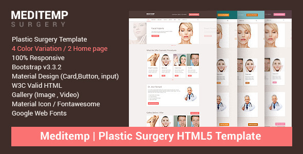 ThemeForest Meditemp Plastic Surgery Website Template 10562378