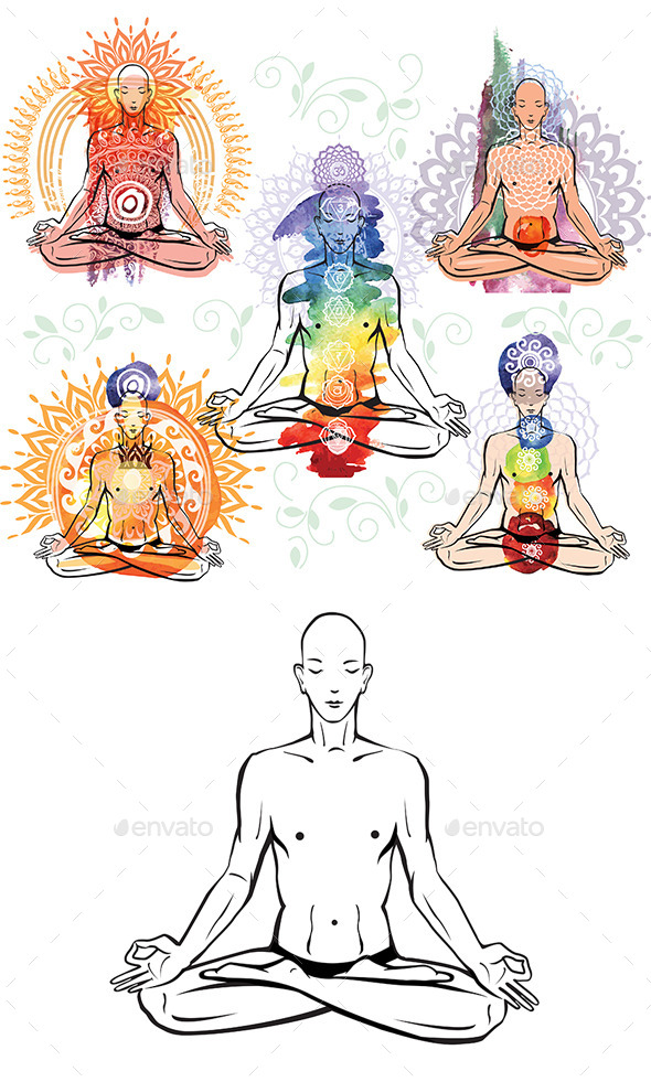 GraphicRiver Man Meditating and Doing Yoga Poses 10585676