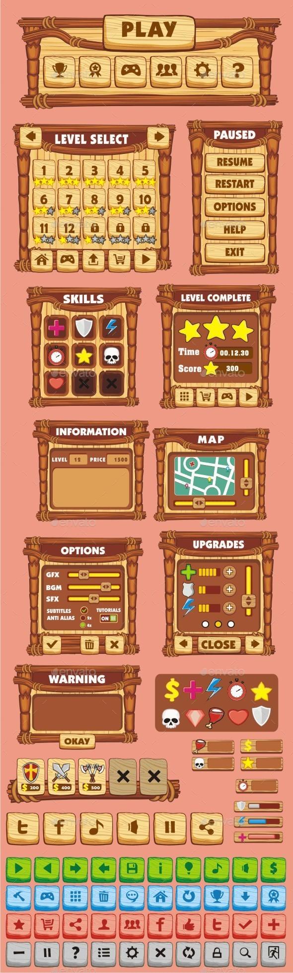 GraphicRiver cartoon game gui pack 13 10587728