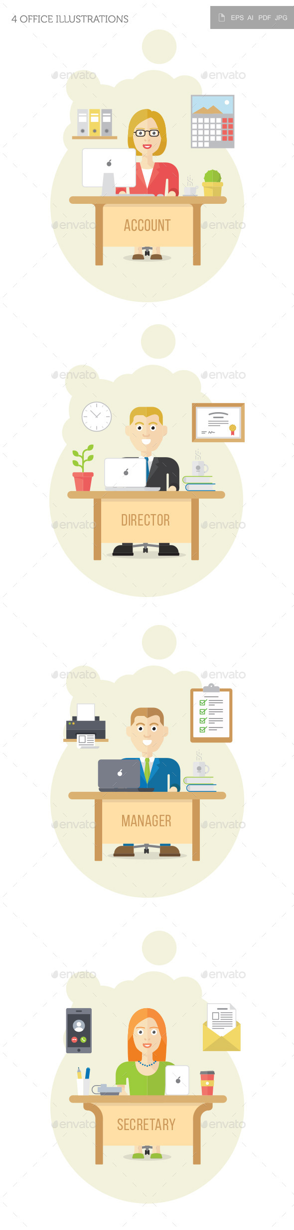 GraphicRiver 4 Office Illustrations 10587929