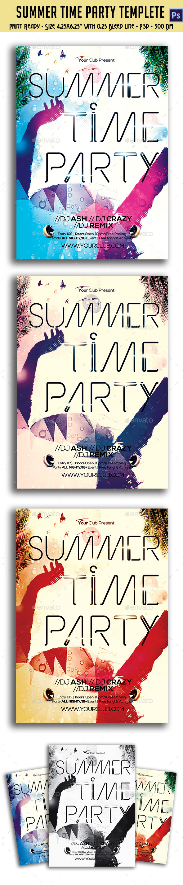 GraphicRiver Summer Time Party Flyer 10587953