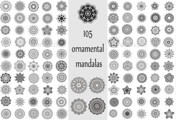 GraphicRiver Ornament Round Set with Mandalas 10588014