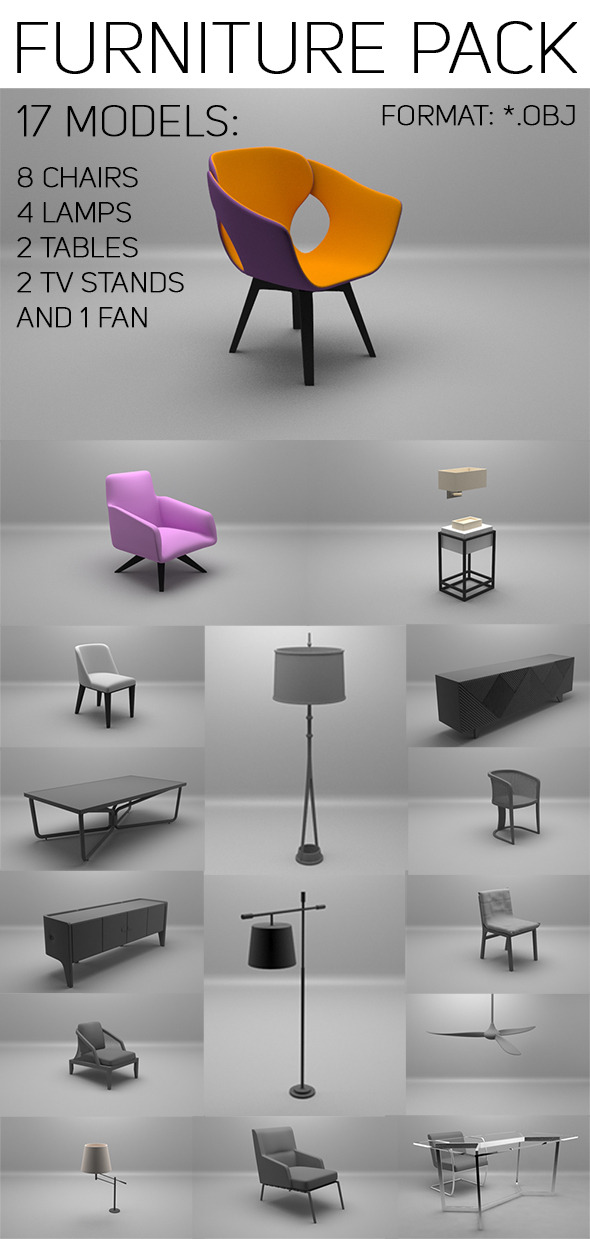 3DOcean Furniture Pack 10577697