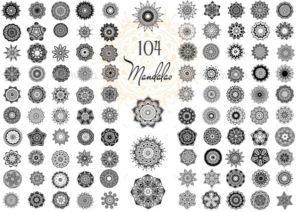 GraphicRiver Ornament Round Set with Mandalas 10588132