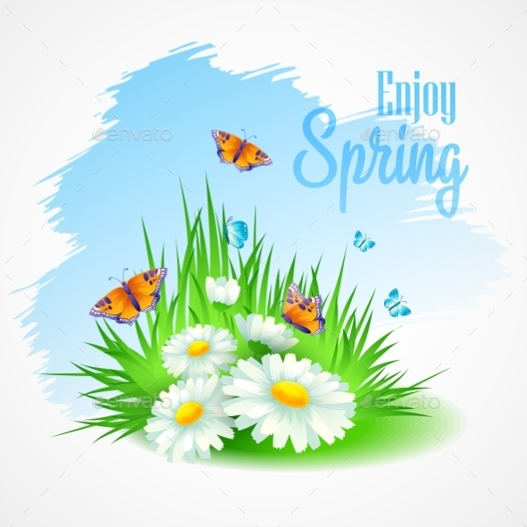 GraphicRiver Spring Greeting Card with Daisies 10588161