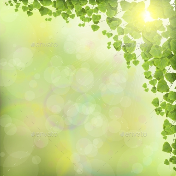 GraphicRiver Tree Leaves on Abstract Green Background 10588547