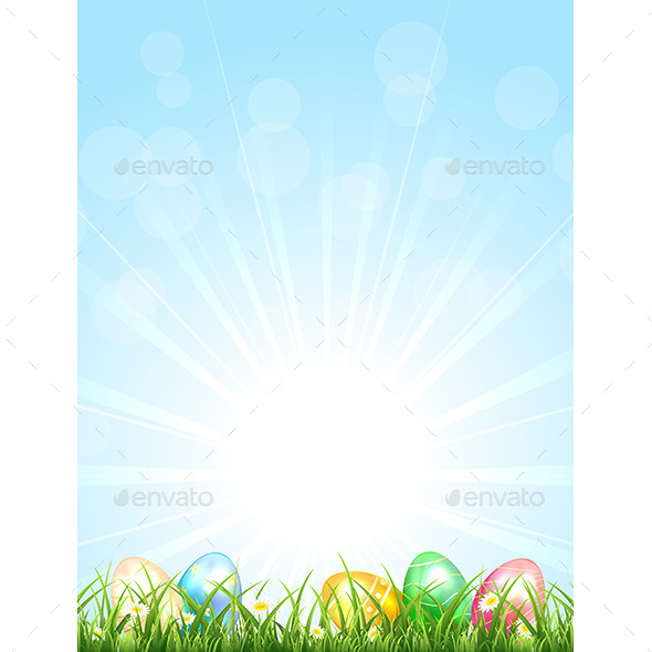 GraphicRiver Easter Eggs in the Grass 10589329