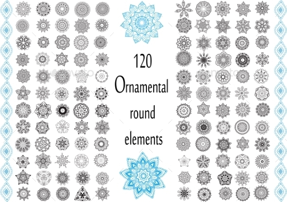 GraphicRiver Ornament Round Set with Mandalas 10589731