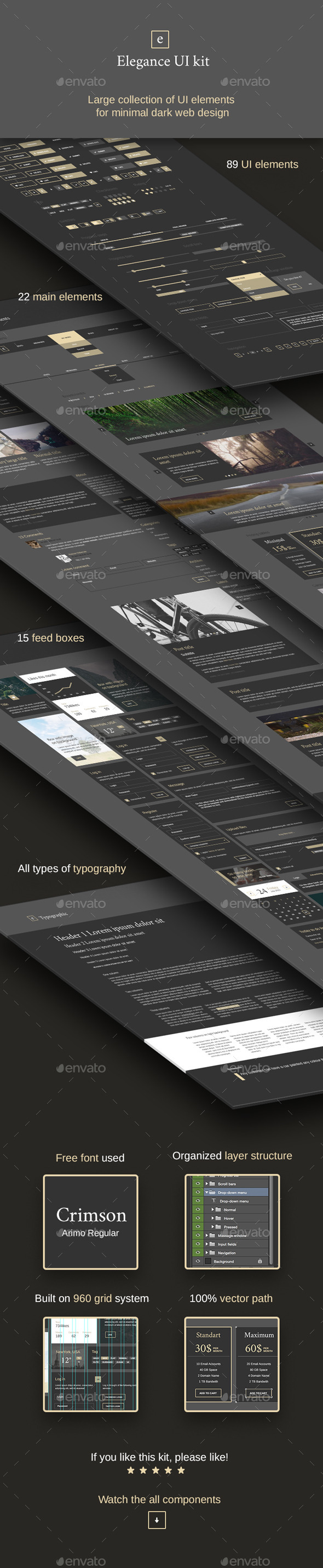 GraphicRiver Elegance Minimal and Dark UI kit 10514095