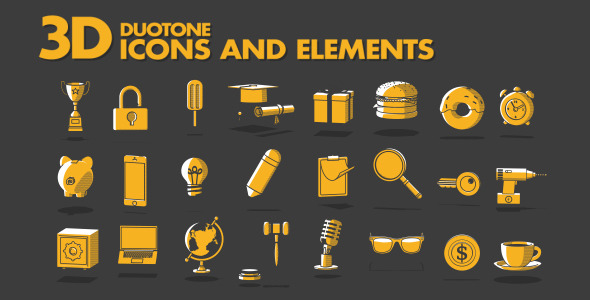 3D Duotone Icons and Elements