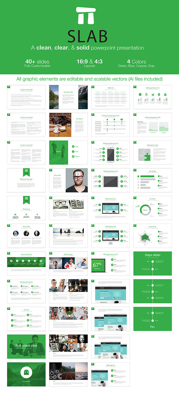 GraphicRiver Slab A clean clear & solid powerpoint template 10460122