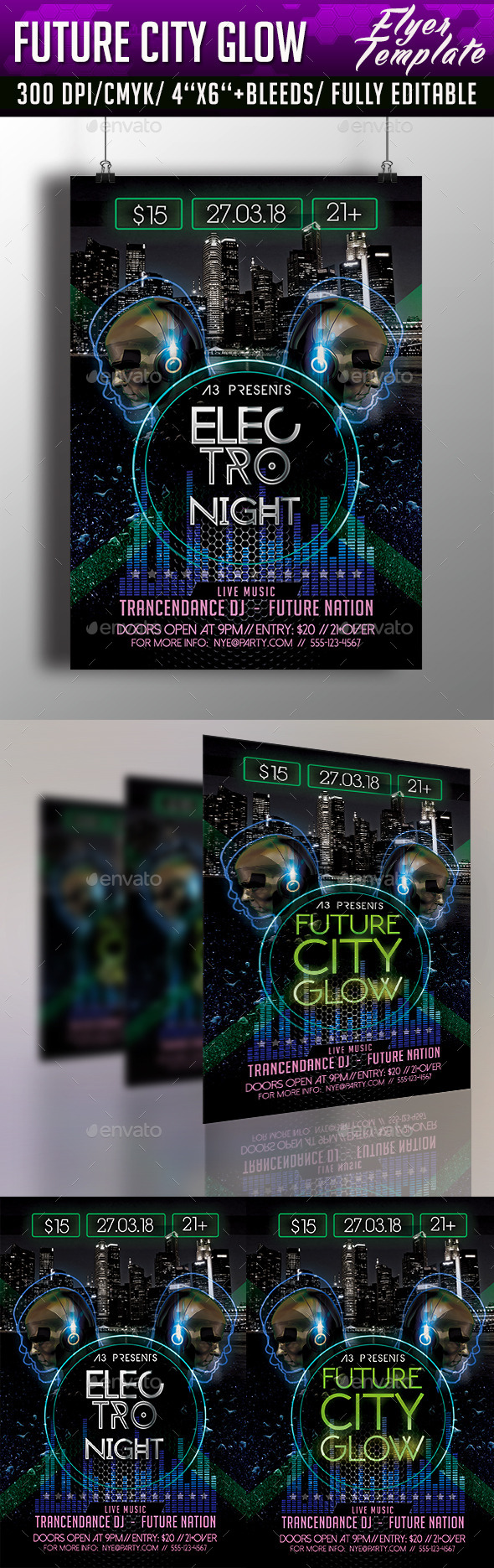 GraphicRiver Future City Glow Flyer Template 10508054