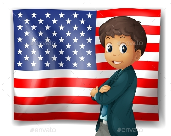 GraphicRiver An American Flag with a Boy 10591909