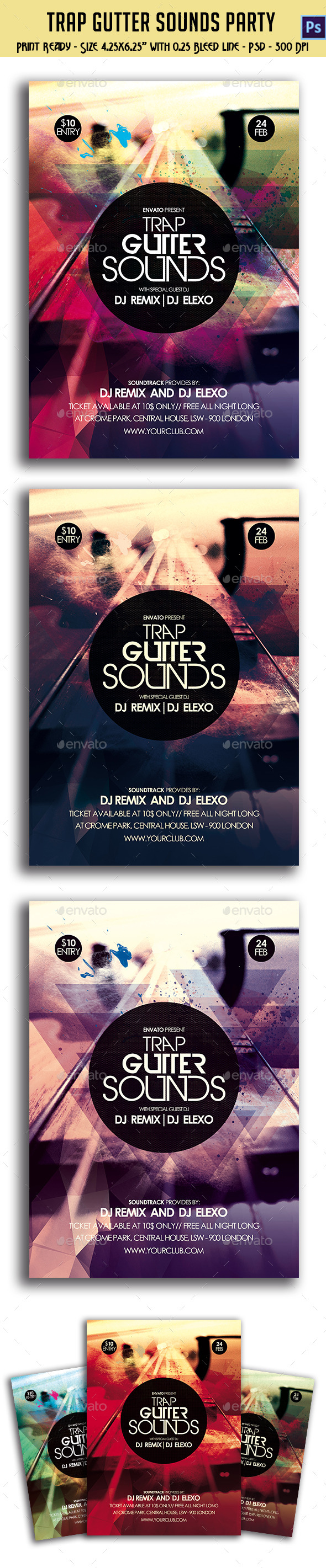 GraphicRiver Trap Gutter Sounds Party Flyer 10592173