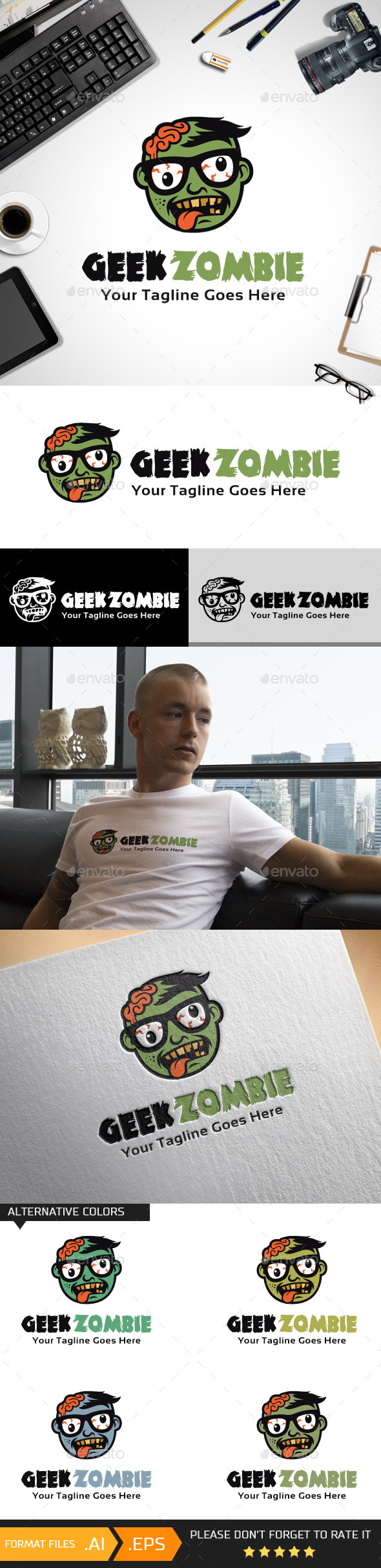 GraphicRiver Geek Zombie Logo Template 10592456
