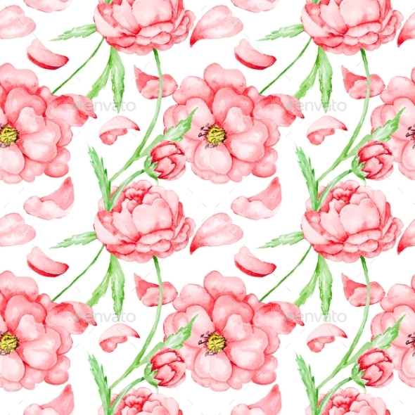 GraphicRiver Passion Pattern with Red Flowers 10592945
