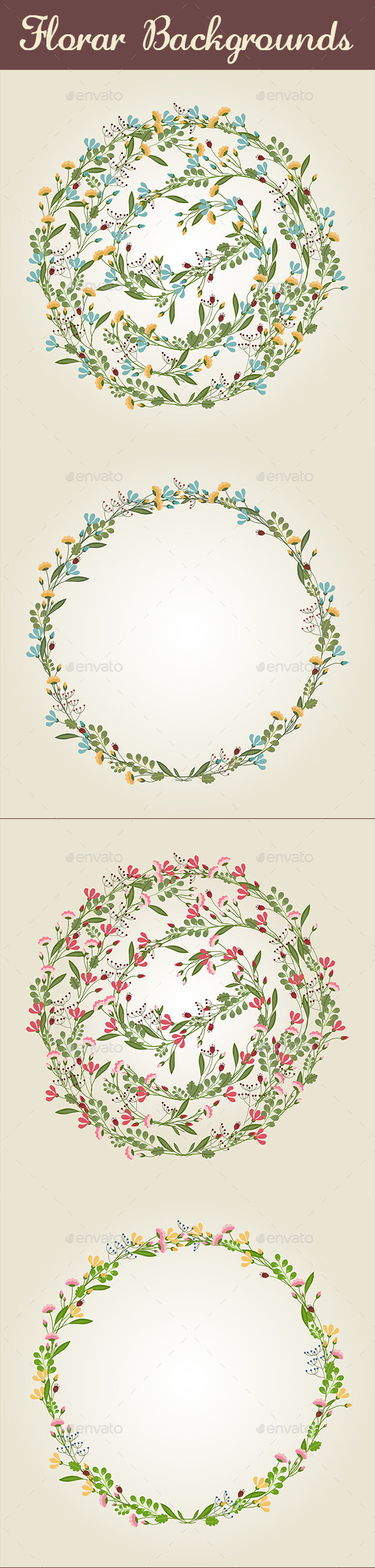 GraphicRiver Floral Backgrounds Set 10593262