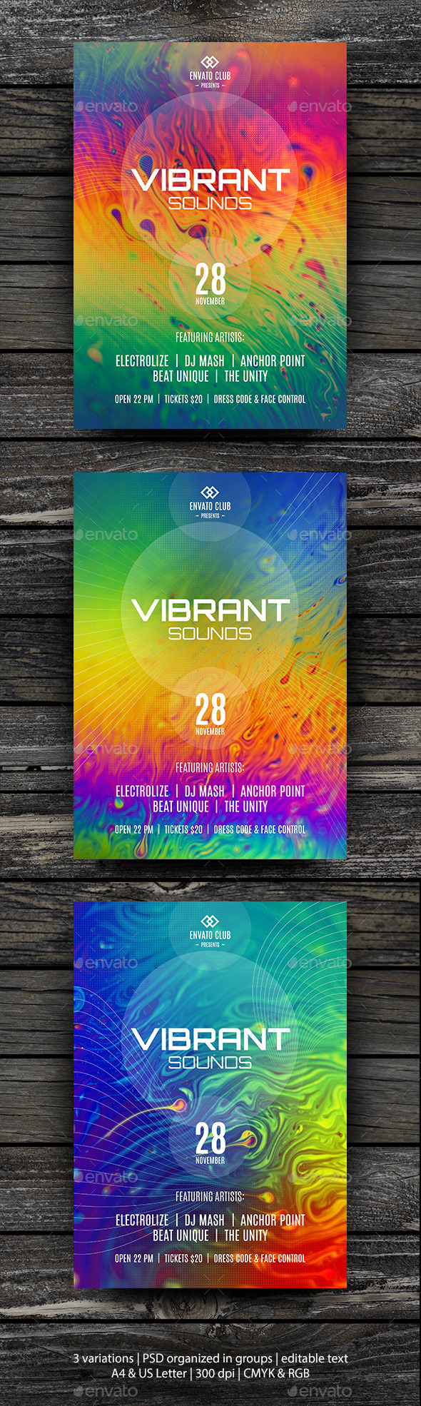 GraphicRiver Vibrant Sounds Party Flyer Template 10593424