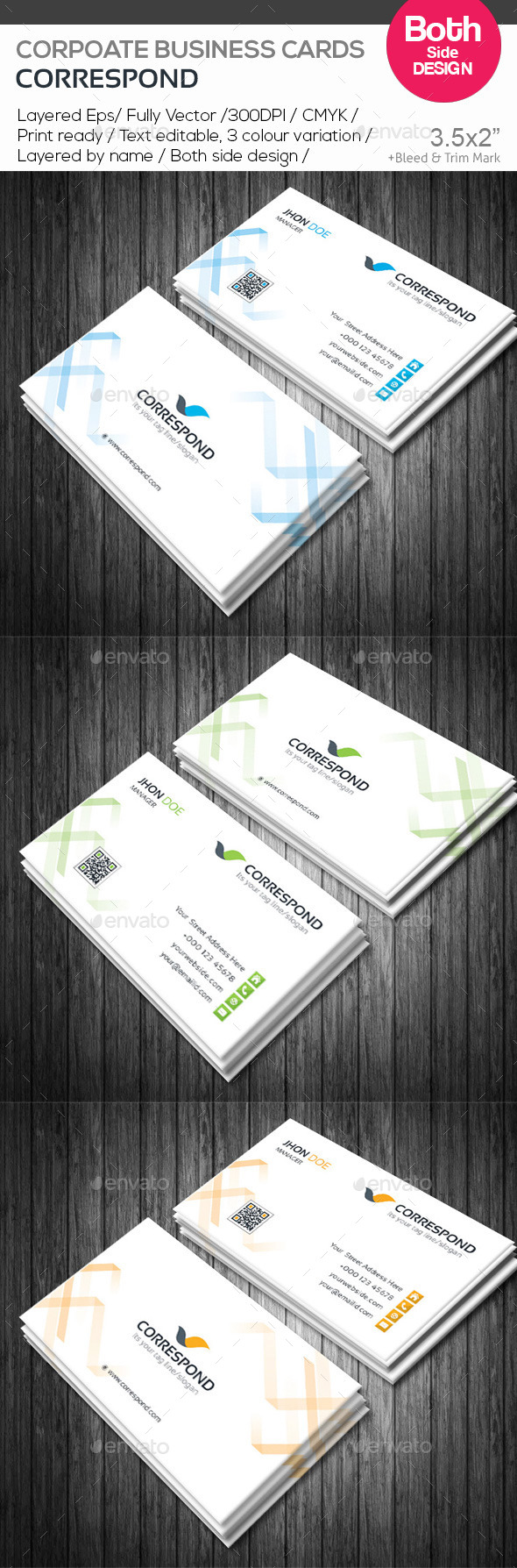 GraphicRiver Correspond Corporate Business Cards 10593484
