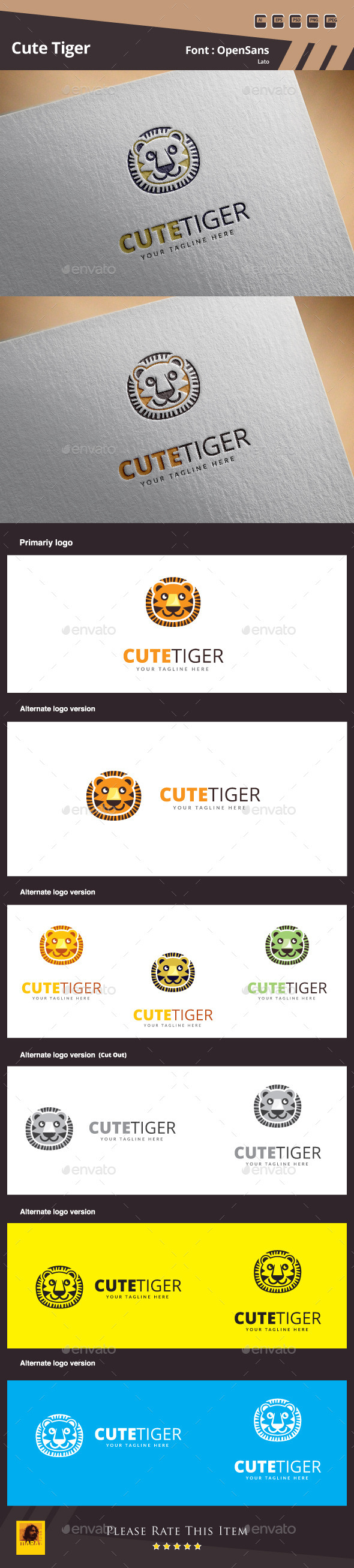 GraphicRiver Cute Tiger Logo Template 10593917