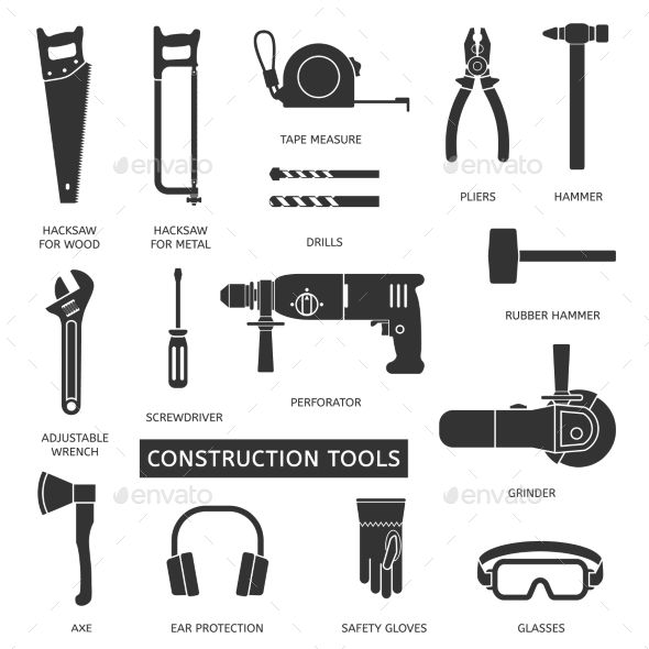 GraphicRiver Construction Tools Set 10594396