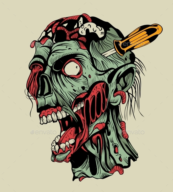 GraphicRiver Zombie Head with a Screwdriver 10595509