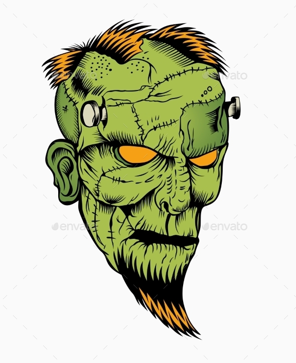 GraphicRiver Illustration of Zombie Head 10595559