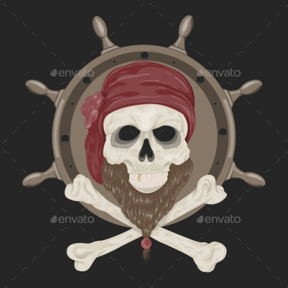 GraphicRiver Image Pirate Skull with a Beard 10595568