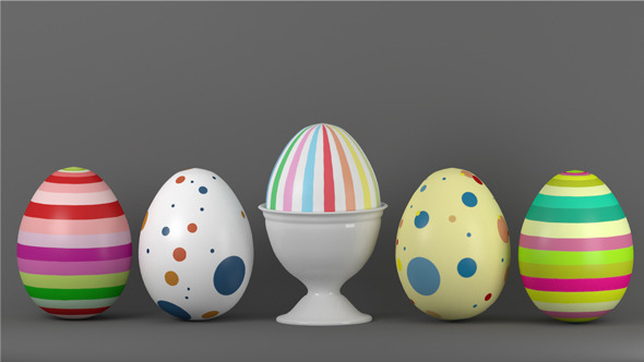 3DOcean Easter Egg Set and Egg Cup 10595696