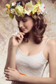 Brunette woman with flowers - PhotoDune Item for Sale