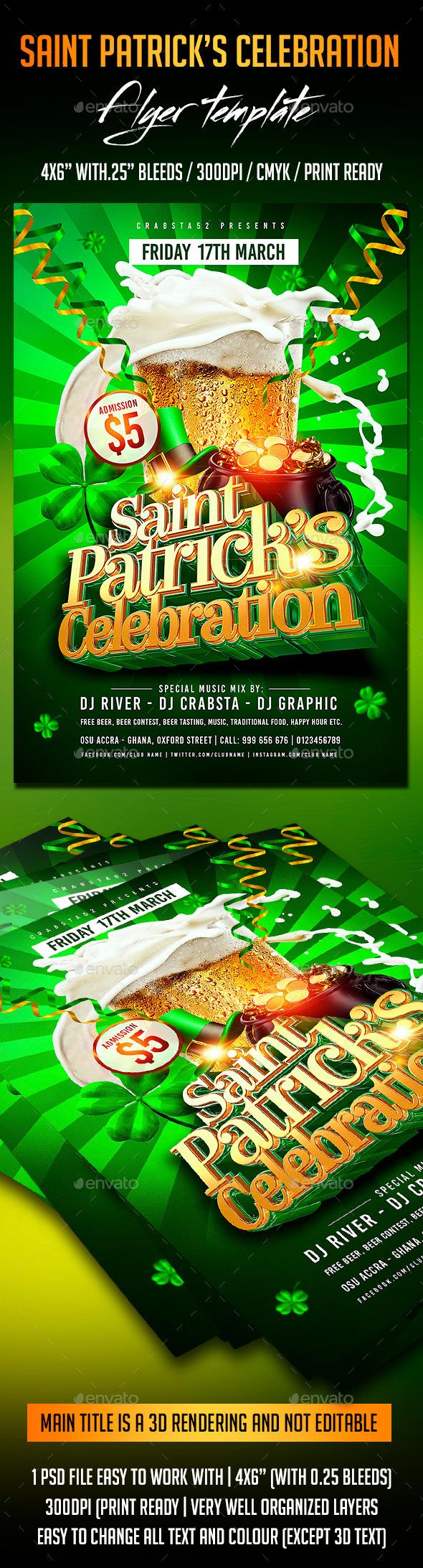 GraphicRiver Saint Patrick s Celebration Flyer Template 10595866