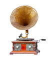 Old wooden gramophone isolated on white background - PhotoDune Item for Sale