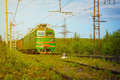 Electric Freight Train Approaching Polyarnye Zori, Russia - PhotoDune Item for Sale