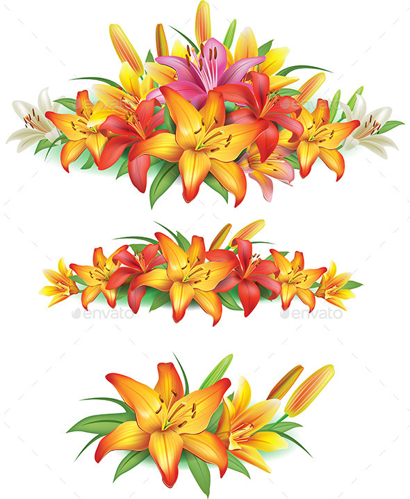 GraphicRiver Garlands of Yellow Lilies 10595890