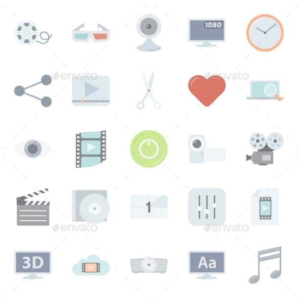 GraphicRiver Flat Icons Set 10595933