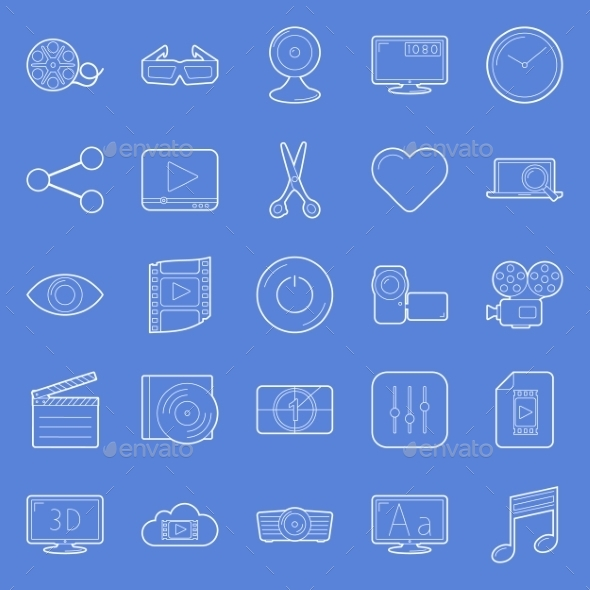 GraphicRiver Video Thin Lines Icons Set 10595934
