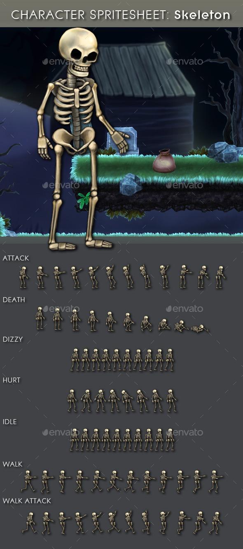GraphicRiver Character Spritesheet Skeleton 10560011