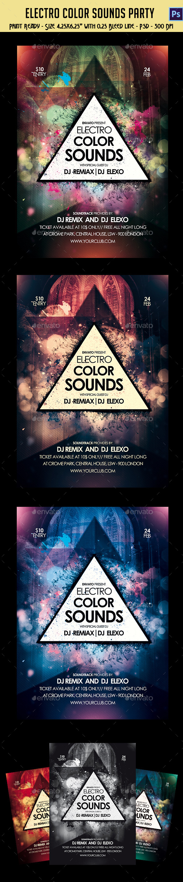 GraphicRiver Electro Color Sounds Party Flyer 10597211