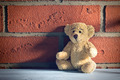 teddy bear sit in front of a brick wall - PhotoDune Item for Sale