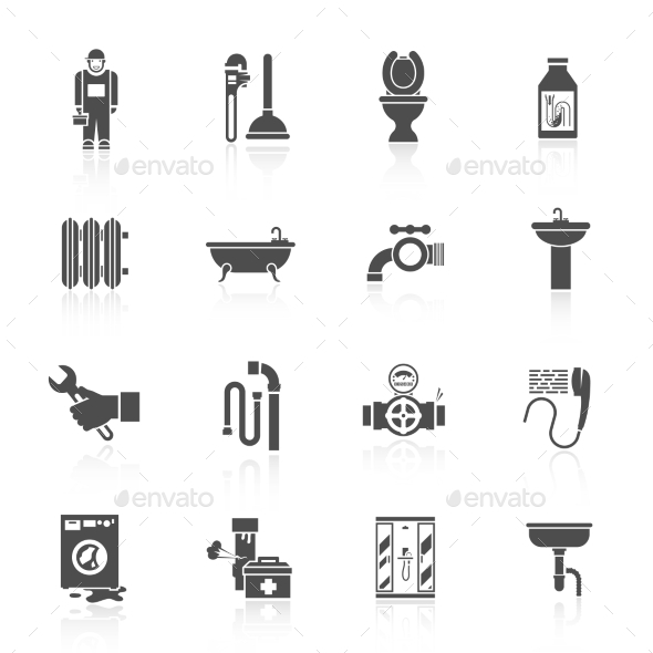 GraphicRiver Plumbing Icons Set 10597600