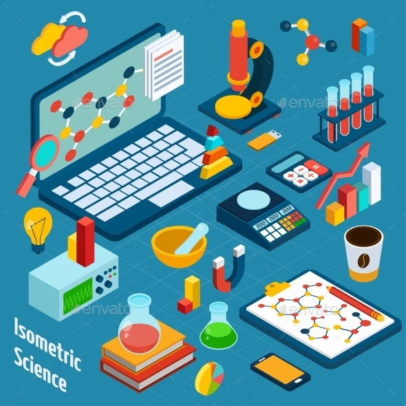 GraphicRiver Isometric Science Workplace 10597642