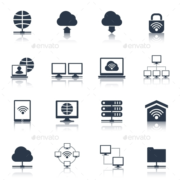 GraphicRiver Network Icons Black 10597696