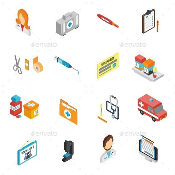 GraphicRiver Doctor Icon Isometric Set 10597698