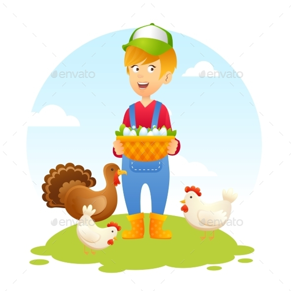 GraphicRiver Farmer Woman with Chicken 10597708