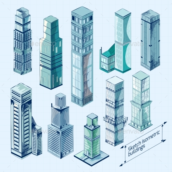 GraphicRiver Sketch Isometric Buildings Colored 10597746