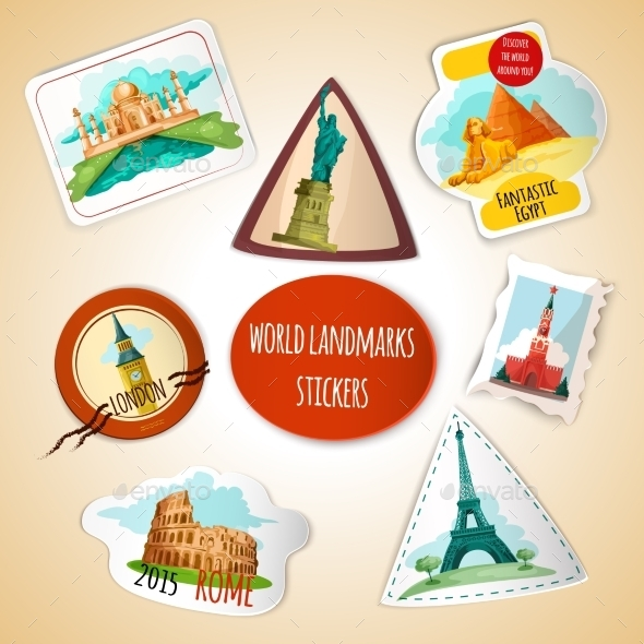 GraphicRiver World Landmarks Stickers 10597753